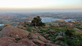 View from on top of Mount Scott in wichita mountains stock image