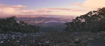 On top of Mount Wellington in Hobart, Tasmania during the day. Royalty Free Stock Photos
