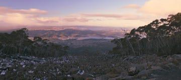 On top of Mount Wellington in Hobart, Tasmania during the day. View on top of Mount Wellington in Hobart, Tasmania during the day Royalty Free Stock Photos