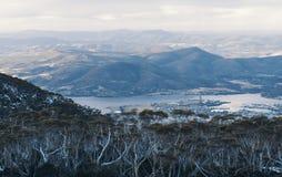 On top of Mount Wellington in Hobart, Tasmania during the day. View on top of Mount Wellington in Hobart, Tasmania during the day Stock Photo