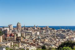 View from the top of the mountain on the center of Genoa, Italy stock images