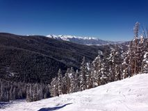 A view from the top of a mountain close to Avon Colorado Royalty Free Stock Photo