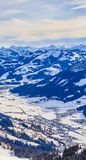 View from  the top of the mountain Hohe Salve. Ski resort  Soll. Brixen im Thalef. Tyrol, Austria Stock Images