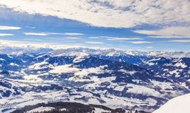 View from  the top of the mountain Hohe Salve. Ski resort  Soll. Hopfgarten. Tyrol, Austria Stock Photos