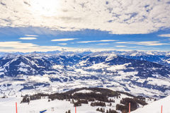 View from the top of the mountain Hohe Salve. Ski resort Soll. View from  the top of the mountain Hohe Salve. Ski resort  Soll, Westendorf. Tyrol, Austria Royalty Free Stock Photos