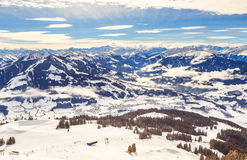 View from the top of the mountain Hohe Salve. Ski resort Soll. View from  the top of the mountain Hohe Salve. Ski resort  Soll, Westendorf. Tyrol, Austria Stock Photo