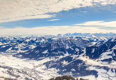 View from the top of the mountain Hohe Salve. Ski resort Soll. View from  the top of the mountain Hohe Salve. Ski resort  Soll, Brixen im Thalef. Tyrol, Austria Royalty Free Stock Images
