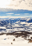 View from  the top of the mountain Hohe Salve. Ski resort  Soll, Westendorf. Tyrol, Austria Royalty Free Stock Photography