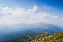 View from the top of the mountain Hoverla, Carpathian Mountains. Hoverla (2061 m) - the highest mountain and the highest peak in the territory of Ukraine stock image