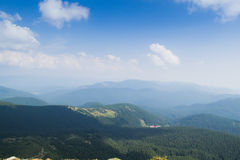 View from the top of the mountain Hoverla, Carpathian Mountains. Hoverla (2061 m) - the highest mountain and the highest peak in the territory of Ukraine stock images