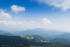View from the top of the mountain Hoverla, Carpathian Mountains. Hoverla (2061 m) - the highest mountain and the highest peak in the territory of Ukraine royalty free stock photography