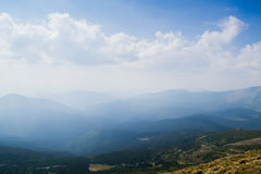 View from the top of the mountain Hoverla, Carpathian Mountains. Hoverla (2061 m) - the highest mountain and the highest peak in the territory of Ukraine royalty free stock images