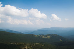 View from the top of the mountain Hoverla, Carpathian Mountains. Hoverla (2061 m) - the highest mountain and the highest peak in the territory of Ukraine royalty free stock photos
