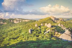 View from the top of the mountain Ilyas Kaya. Golden hour. Temple of the Sun - a place of power on the southern coast of Crimea. View from the top of the Stock Photos