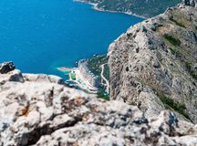View from the top of the mountain Ilyas-Kaya on the sea. And the city of Laspi, Crimea, Ukraine, summer sunny day Stock Images