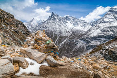 View from top of mountain snow peak Royalty Free Stock Photography