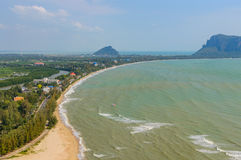 View from top of mountain temple on the top of Khao Chong Krachok Hill in the Town of Prachuap Khiri Khan, Thailand Stock Photo