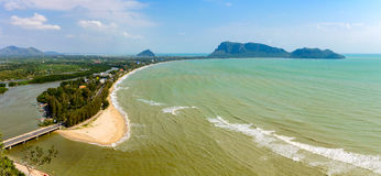 View from top of mountain temple on the top of Khao Chong Krachok Hill in the Town of Prachuap Khiri Khan, Thailand Royalty Free Stock Images