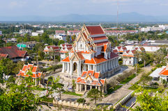 View from top of mountain temple on the top of Khao Chong Krachok Hill in the Town of Prachuap Khiri Khan, Thailand Stock Photography
