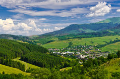 The view from top of mountain to a small town Stock Photography