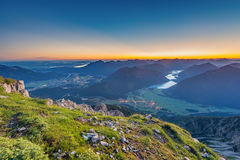 View from top of mountain to valley Royalty Free Stock Image