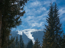 View of the top of the mountain of Todorka equipped with chair l Royalty Free Stock Image