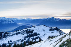View from the top of Mt. Rigi, Switzerland, winter evening Royalty Free Stock Photo