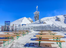 View on the top of Mt. Titlis on a windy day Royalty Free Stock Photos