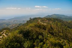 The view from the top National Park of La Gran Piedra, Big Rock in the Sierra Maestra mountain range near Santiago de Cuba, Cuba. The view from the top National stock photos