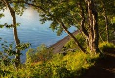 View from the top of Nikolskaya Hill to the beach on Ozernovskaya spit, shore of Avacha Bay in Petropavlovsk-Kamchatsky. Stock Images