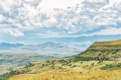 View from the top of Oliviershoek Pass into Kwazulu-Natal. The view from the top of the Oliviershoek Pass into Kwazulu-Natal towards the South with the Stock Image