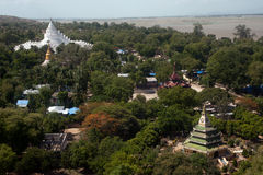 View from top of the pagoda looks out on Mya Theindan pagoda. Stock Images