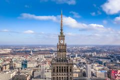 Warsaw / Poland - 02.16.2016: View at the peak of Palace of Culture and Science. royalty free stock photos