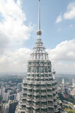 A view of top of Petronas Twin Towers in Kuala Lumpur, Malaysia. Stock Images