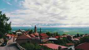 View from the top of a picturesque Alazani Valley.Sighnaghi, Georgia. Panoramic View on the City Landscape. View from the top of the picturesque Alazani Valley stock footage