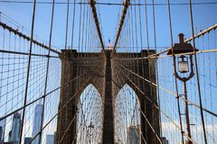 View of the top of a pillar of the Brooklyn bridge stock image