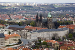 View from top on Prague Castle. President residence and St. Vitus Cathedral, Prague Royalty Free Stock Photo