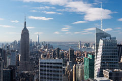 View from Top of the Rock. On the Empire State building, Freedom Tower and financial district, Statue of Liberty and the Hudson river Royalty Free Stock Photos