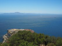 View from the top of the Rock of Gibraltar. Across the Strait of Gibraltar with Morocco in the distance Stock Photos