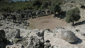 View from the top of roman amphitheater looking stock video footage