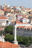 View from the top of Rossio Square in Lisbon Royalty Free Stock Photo