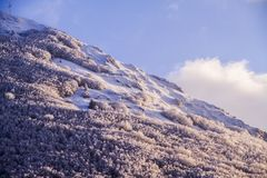 San Vicino mountain in italy at sunset in winter. A view of the top of San Vicino Mountain in Italy, Pian Dell`Elmo Stock Images