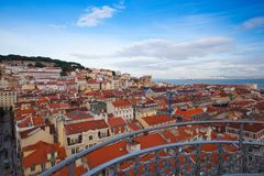 View from the top of the Santa Justa elevator on Lisbon Royalty Free Stock Photo