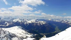 View from the top of Sass Pordoi peak to the valley , Dolomites stock video