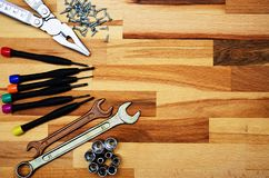a set of different tools,repair,screwdrivers, wrenches pliers,screws royalty free stock photography