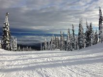 View from top of ski hill on sunny day in winter Stock Photography