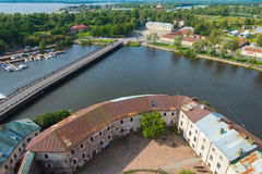 View from the top of St. Olav tower in Vyborg Royalty Free Stock Images