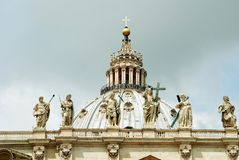 View of top of St Peter Basilica roof on May 31, 2014 Royalty Free Stock Photo