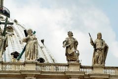 View of top of St Peter Basilica roof on May 31, 2014 Royalty Free Stock Images