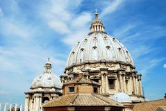 View of top of St Peter Basilica roof on May 31, 2014 Royalty Free Stock Image